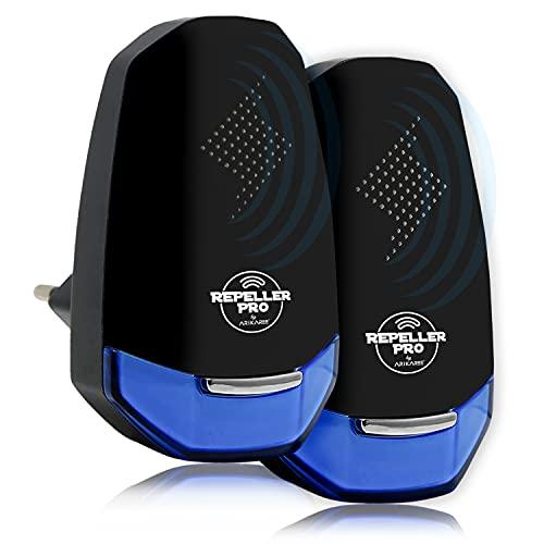 Repellente Ultrasuoni Professionale 2021 Anti Topi Ratti Blatte Zecche Scarafaggi Insetti Roditori Formiche Ragni Api, Repeller Elettrico Per Interno e Esterno, Giardino 2 Pack (Nero)