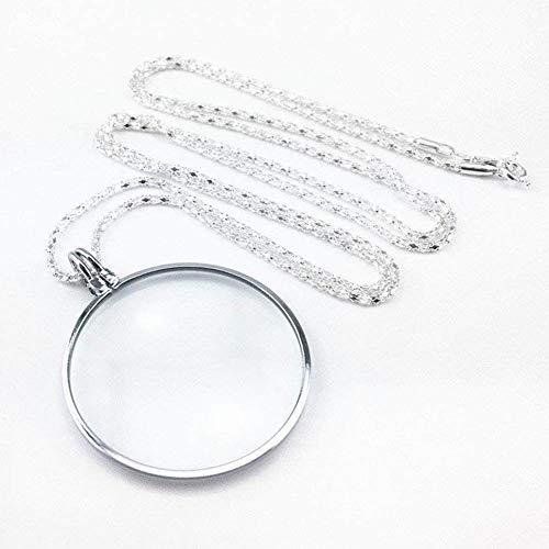 5X Lupe Mini Tragbare Halskette 45mm Lupe Alte Mann Tasche Lesen Ornament Geschenk Halskette Schmuck Identifikation Lupe Silber Lupe,Chrome