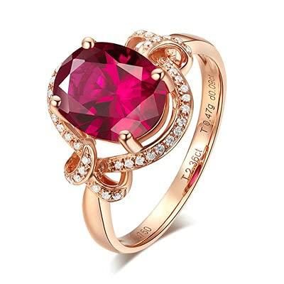 Bishilin Anillos de Oro Rosa 750 Anillo de Bodas de 18 Quilates, Diamante Nudo con Oval Rojo Turmalina 2.36ct Anillo de Compromiso de Matrimonio Regalos para Cumpleaños Navidad Oro Rosatamaño: 6,75