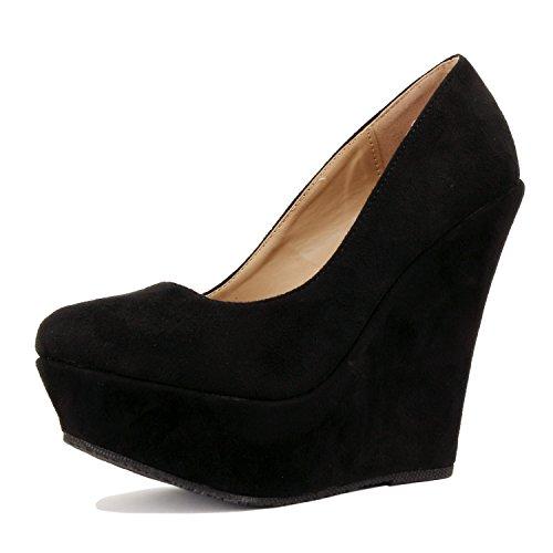 Delicacy Trendy-33 Slip On Platform High Heel Pump - Round Toe Wedges Shoes for Women, Black Suede, 8.5
