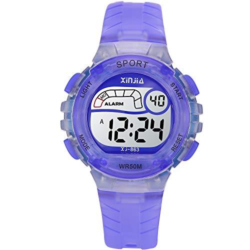 Reloj Digital para Niña Niño,Chicos Chicas 50M(5ATM) Impermeable Deportes LED al Aire Libre Relojes de Pulsera Multifuncionales con Alarma para Niños, Niñas, Estudiantes ( Luz púrpura)