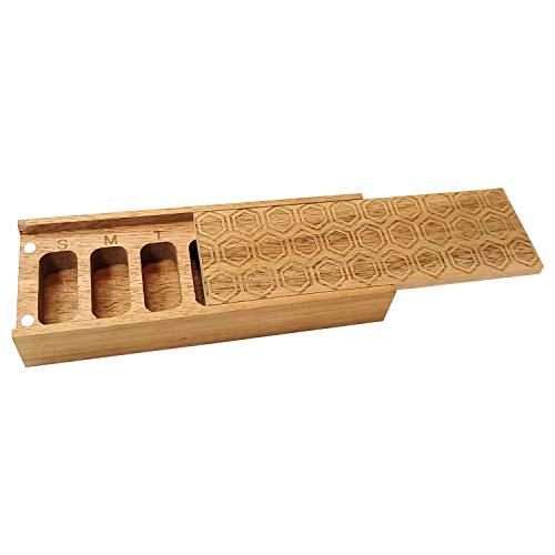 Natural Acacia Wood 7 Day Weekly Pill Box –...