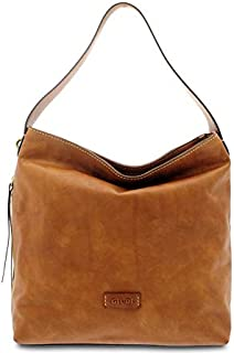 GIUDI ® - Borsa Donna in pelle vacchetta nuvolata, vera pelle, sacca, tracolla, Made in Italy. (Marrone)