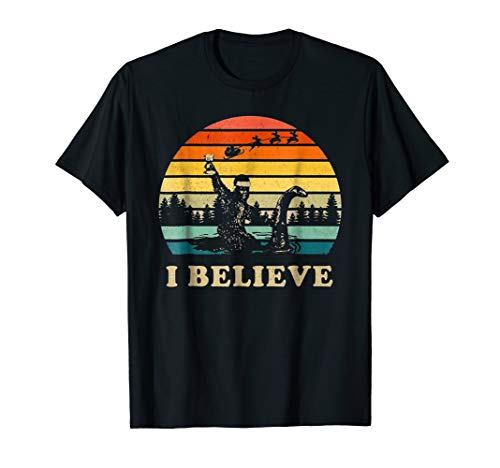 Vintage Believe Bigfoot Riding Loch Ness Monster Shirt Gift