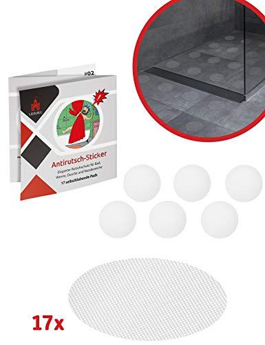 Lieburg Anti-Rutsch Aufkleber für Badewannen & Duschen - 17x Sticker - Ø 10 cm extra Groß - selbstklebend & transparent - Antirutsch Badewanne und Dusche - rutschfeste Pads