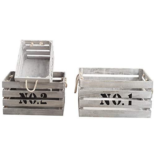 Rebecca Mobili Set 3 Cassette Industrial, ceste contenitori di Legno, Bianco, per Camera Sala Garage - Misure: 22 x 41 x 30 cm (HxLxP) - Art. RE4292