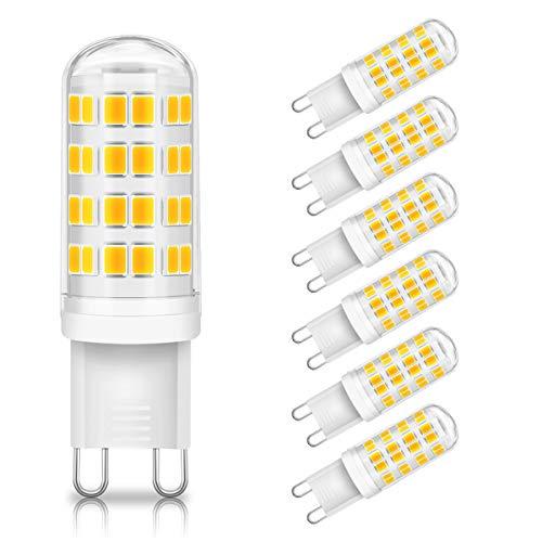 KINGSO Paquete de 6 lámparas LED G9, 6W / 500LM 3000K blanco cálido en lugar de lámparas halógenas de 60W, bombillas G9 AC 230V no regulables