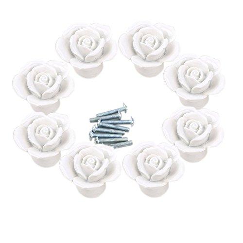 iVansa - Set di 8 Pomelli in Ceramica, Vintage Shabby Chic Maniglie Manopole per Cassetto Cucina Armadio Porta Bottoni - Bianco