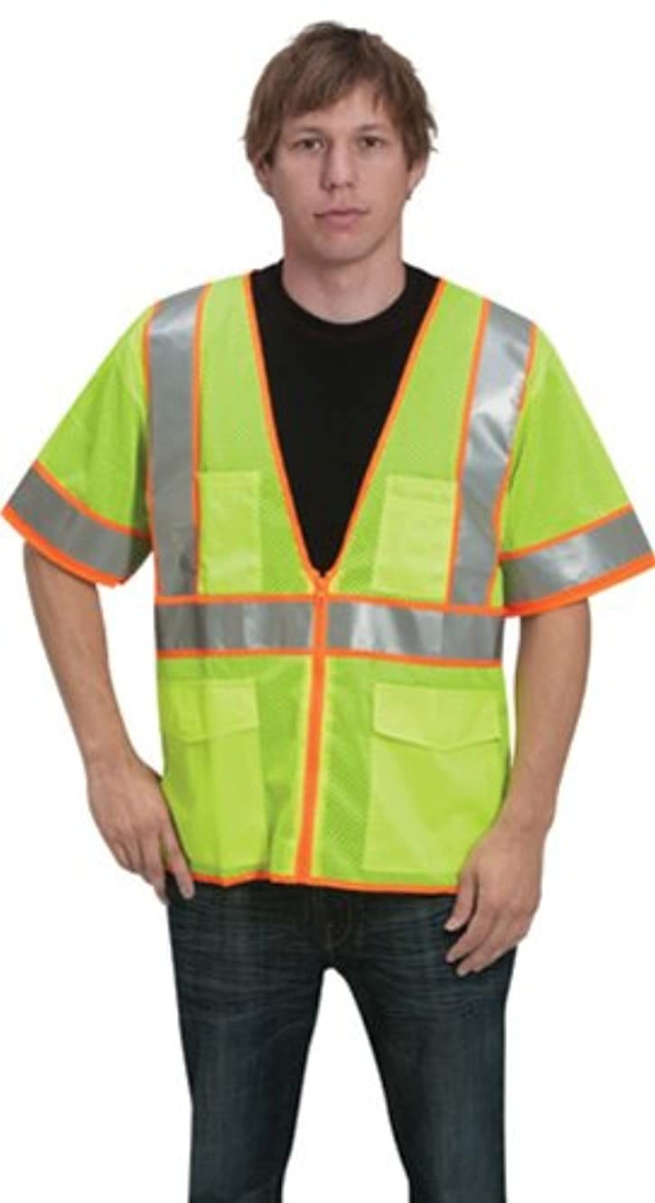 Liberty HiVizGard Polyester All Mesh Fabric Class 3 Vest with Sleeves, 6X-Large, Fluorescent Lime Green