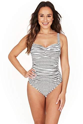 Nip Tuck Swim Santorini Stripe Twist Front Design Tummy Control One Piece Swimsuit (4) Olive