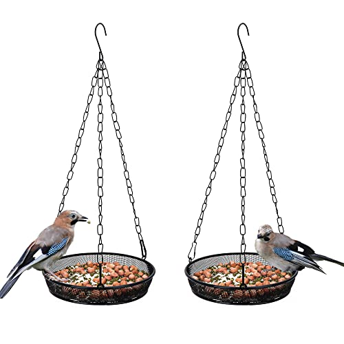 2 Pack Hanging Bird Feeder Tray, Metal Iron Mesh Seed Tray for Hanging Bird Feeders,Platform Bird Feeders for Outside Holder Garden Decoration Attracting Birds(Circular/Black)