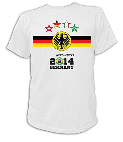 Artdiktat Herren Deutschland Fan T-Shirt - 4 Sterne Fussball Weltmeister 2014 Germany - Trikot Ersatz - Wunschname und Nummer Größe L, weiß