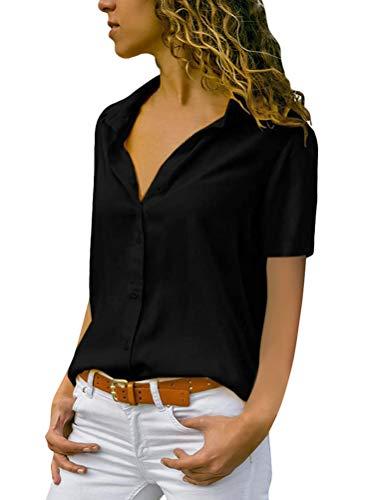 Minetom Damen Chiffon Kurzarm Blusen V Ausschnitt Mode T-Shirt Oberteile Elegant Hemd Top Einfarbig Kurzarm Bluse Casual Sommer Knopf Tunika Schwarz 40