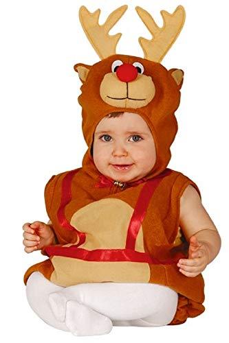Fancy Me bébé garçons Filles Rudolph Renne Noël Velours Combinaison Costume déguisement - Marron, 6-12 Months