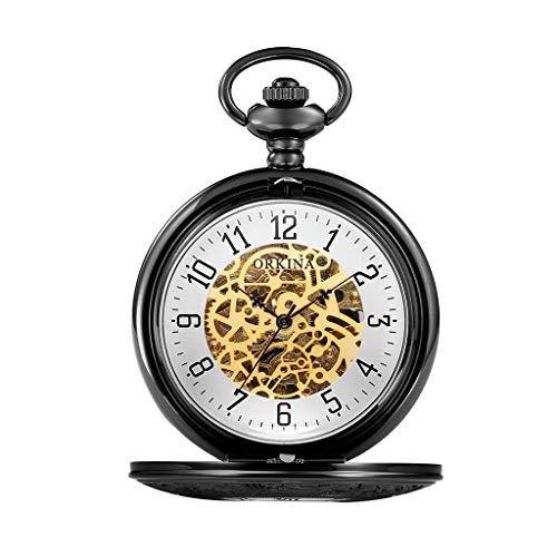 Reloj de Bolsillo clásico y Elegante. Reloj de Bolsillo con la Cadena, tirón Grande de la Vendimia Hueco Maquinaria, día de como Padre/Elder Navidad Relojes de Regalos/Aniversario/for Hombre