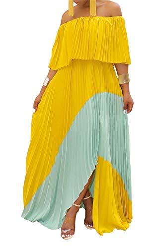 LROSEY Women's Short Sleeve Off The Shoulder Maxi Dresses Loose Ruffled High Waist A Line Pleated Dress Plus Size