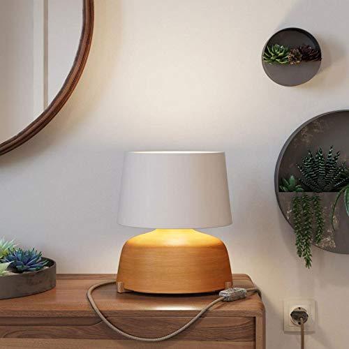 Lámpara de sobremesa de cerámica Coppa con Pantalla Athena, Completa con Cable Textil, Interruptor y Clavija de 2 Polos - con Bombilla, Terracota Rayado - Blanco
