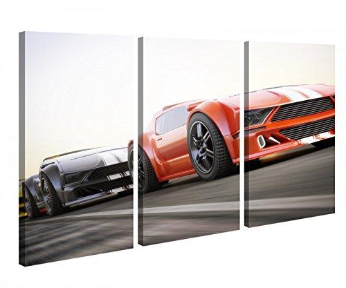 Leinwandbild 3 Tlg Auto Wagen Rennwagen rennen Sport Leinwand Bild Bilder canvas Holz fertig gerahmt 9U019, 3 tlg BxH:120x80cm (3Stk 40x 80cm)