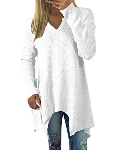 Zanzea Mujer Camisetas Tallas Grandes Blusa Irregular Cuello V Manga Larga Color Sólido Casual Tops Jersey de Punto 01 Irregular-Blanco XL