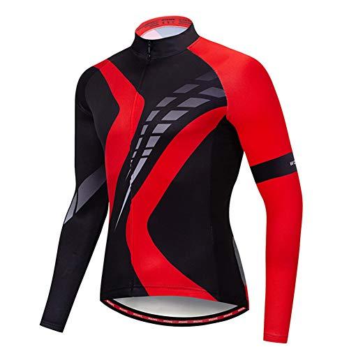 Vestes De Cyclisme Homme Séchage Rapide Transpiration Confortable avec Curseur Réfléchissant, Poche Veste Vélo pour Course Plein Air Cyclisme,Rouge,XL