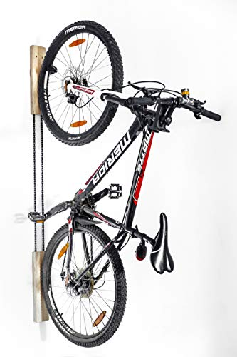 Wokana Wooden Bike Wall Rack - Elegant, Sturdy, Handcrafted Indoor Mount - Birch Wood, Quality Leather. For 26' to 29' Bikes (Quality Lacquered Birch Plywood)