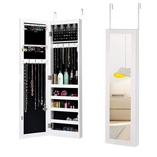 RELAX4LIFE Schmuckschrank mit LED-Licht & Halterung, Spiegelschrank hängend, Hängeschrank mit Spiegel, Schmuckregal Landhausstil, Aufbewahrung für Halsketten & Ringe, Schlafzimmer & Garderobe, weiß