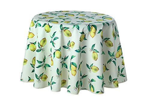 Provence-Tischdecke, rund 160 cm, Panama-PE, Zitrone,