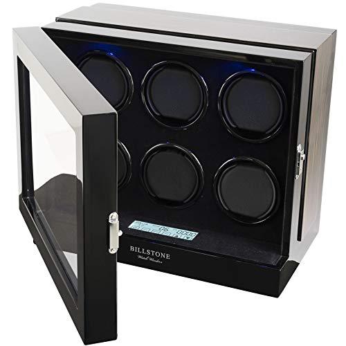 BILLSTONE Paragon 6 Watch Winder - for 6 Automatic Watches/Black Velvet Interior/Quiet Mabuchi Motor/Easy Set-up/4 Pre-Programmed Modes (Macassar Wood Finish)