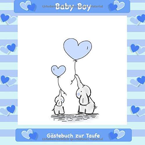 Gästebuch zur Taufe: Für Jungen I Blaues Elefanten Design I für 25 Gäste I Geschriebene...