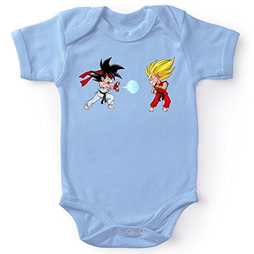 Body bébé manches courtes Garçon Bleu parodie Dragon Ball Z - Street Fighter - Sangoku, Végéta X Ryu et Ken - Super Kamehadoken !!(Body bébé de qualité supérieure de taille 3 mois - imprimé en Franc
