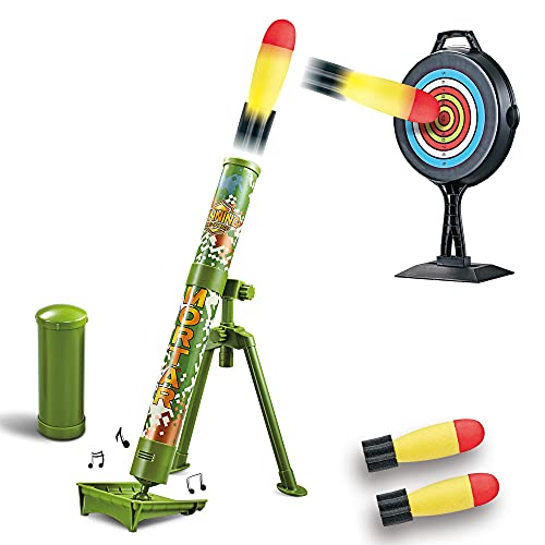 deAO Military Launcher Blaster Shooting Game Toy Play Set with Music Function, Adjustable Elevation and Foam Rocket Missiles Included – Great Indoor and Outdoor Fun for Kids