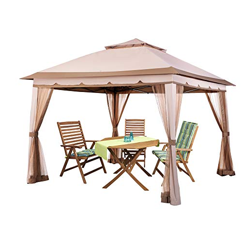 PAMAPIC 11x11 Outdoor Pavilion, for Sun and rain Skylight, with Mosquito net, Waterproof Soft Metal roof Pavilion, for Lawn, Garden, Backyard and Deck (Beige)