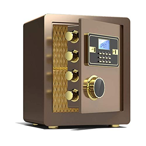 DJPP Cajas Fuertes Cerradura de Llave Electrónica de Seguridad 36X32X40Cm Hoja de Puerta 10Mm Tratamiento de Superficie de Alta Calidad Caja de Seguridad Caja de Seguridad,Oro Cafe