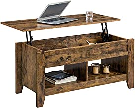 YAHEETECH Lift Top Coffee Table with Hidden Compartment and Storage Shelf - Adjustable Cocktail Table for Living Room Reception Room Office Rustic Brown