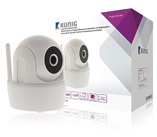 König SAS-CLALIPC10 WLAN-Kamera für SAS-CLALARM10 – mit 720p Auflösung, Schwenk- und Neigefunktion, ABS-Material in Weiß