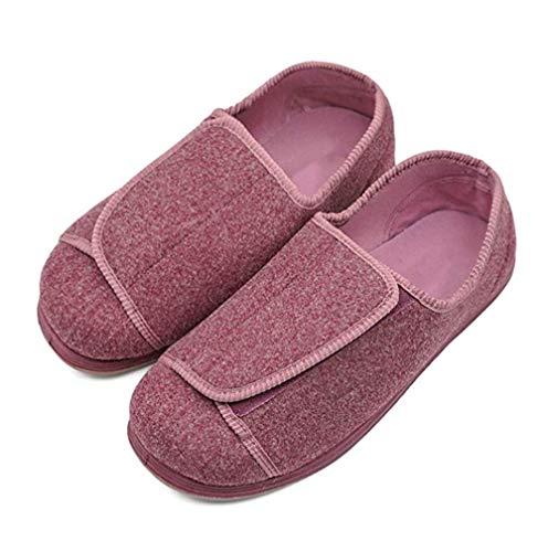 Zapatillas extra anchas para mujeres con edema diabético, juanetes de fascitis plantar ajustables Zapatos ortopédicos fáciles de poner para ancianos Artritis con pies hinchados anchos,Rosado,39