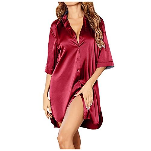 Honestyi Sexy Pijamas Enteros De Seda Para Mujer Vestido camisero largo con botones Camisones sedoso de color puro de manga 3/4 Conjunto Lenceria Con Cuello En V Ropa de hogar Comodas