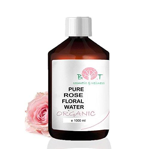 Eau Florale Organique de Rose Hydrolat 100% Pure 1000 ml Lotion Peau Sensible, Lotion Bébé, Lotion Après Rasage, Lotion Après Épilation.