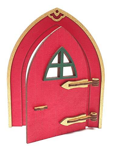 Tanno Design beliebteste Wichteltür, Feentür, Mäusetür, Elfentür aus Holz zum öffnen mit lustigem Wichtel rot/Gold