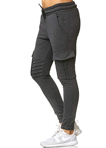 Damen Jogginghose Sporthose Frauen Trainingshose Sweatpants 1214C (Antra, M)