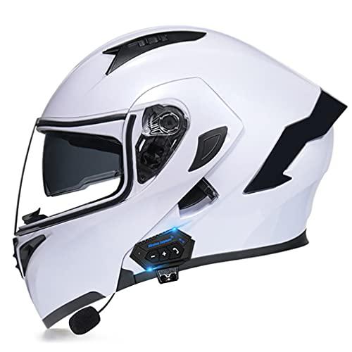 QXFJ Klapphelm Mit Bluetooth, Motorradhelm Integrierter Bluetooth-Helm DOT/ECE Genehmigt Motorrad Full Face Helm Rollerhelm Anti-Fog-Doppelspiegel Sturzhelm Unisex Saubere Linse
