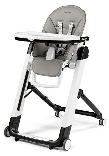 Peg Perego Siesta Follow Me - Ice - Design-Hochstuhl mit Baby-Liegefunktion und Stop&Go-System mit Memory-Funktion, Lederimitat-Bezug, grau