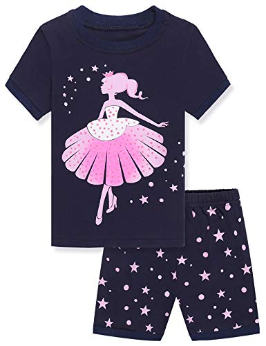Mädchen Schlafanzug Baumwolle Zweiteiliger Schlafanzüge Langarm Set Kinder Nachtwäsche Winter Pyjama(EIN tanzendes Mädchen Drucken), Navy Blau, 130