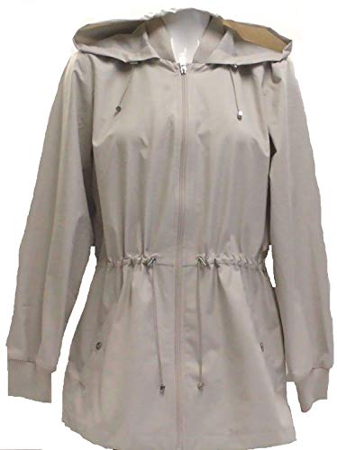 BERNARDO Ladies Jacket Back Ruffle Hem, Beige, Size Medium