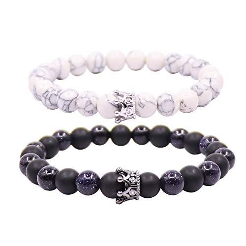 UEUC King & Queen Corona Distancia Pareja Pulseras para él y su Amistad 8 mm Beads Bracelet