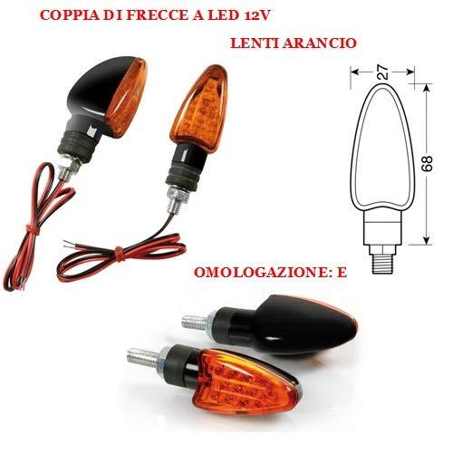 Compatible con Kawasaki KLX 300 R PAR DE Flechas LED para Motos INDICADOR DE DIRECCIÓN LAMPA Aprobado 12V Negro con Lentes Naranjas