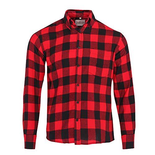 ZenRetro Hombre Camisa Estilo leñador Grunge 100% algodón L