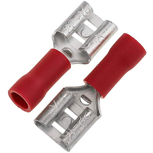 BeMatik - Terminal Faston Vrouw 6,3 mm rood Pak van 100 stuks