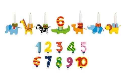 Holzzwerge Goki Geburtstagszug Tierparade mit Zahlen 1-10 und 10 Kerzen