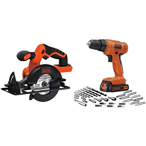 BLACK+DECKER BDCCS20B 20-volt Max Circular Saw Bare Tool, 5-1/2-Inch with BLACK+DECKER LD120VA 20-Volt Max Lithium Drill/Driver with 30 Accessories